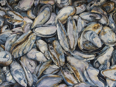Watercolor painting of mussel shells